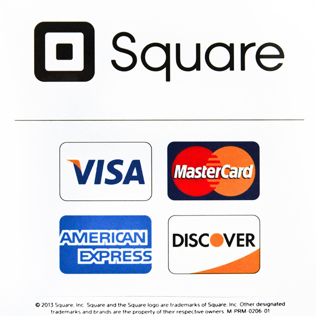 Square Payment logo and credit card company logos